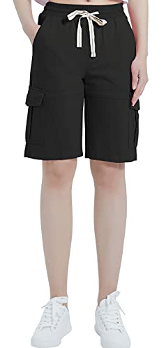 XinYangNi Women's Cargo Shorts Elastic Waist Drawstring Cotton Casual Outdoor Lightweight Soft and Knitting Shorts with Multi Pockets Black L
