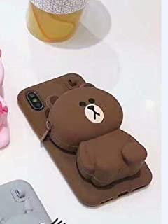 Maxlight for iPhone X XS XR XS MAX Case Luxury Jewelled Ribbon Silicone Soft Matte Phone Cases for iPhone X 8 7 Plus Back Cover (Brown, for iPhone 7plus 8plus)