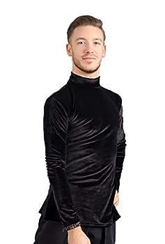 SCGGINTTANZ G5001 Latin Ballroom Dance Professional Velvet Tops Shirt for Men   FBA  Black Medium