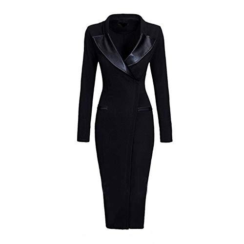 Longra Damen Elegant Etuikleider Business Kleider mit Leder V-Ausschnitt Formelle Kleid Vintage 1950er Jahre Bodycon Pencil Kleid Bleistiftkleid Lang...