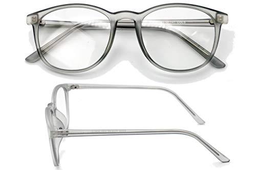 Blaulicht-Brille für Computer, Frauen, Männer, Anti-Augenbelastung, reduziert Kopfschmerzen, Büro-Bildschirm, Blendschutz, UV-Filter, großer, klarer Rahmen, runder Schlaf Grau grau 0.0 Non-Magnify