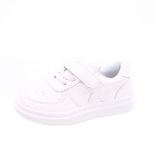 Zapatos Casuales para niños Primavera y otoño nuevos Zapatos Blancos de Estrella de Cinco Puntas Zapatos Deportivos Malla de Cuero Zapatos Planos Antideslizantes Transpirables