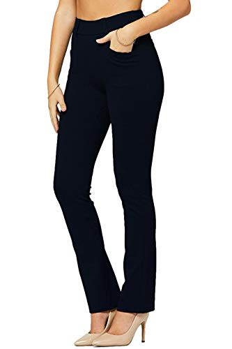 AitosuLa Hose Damen Casual Stretch Freizeithose Straight Sporthosen Skinny High Waist Legging mit Taschen (A Marine, XXL)