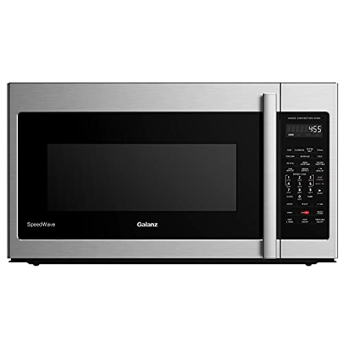 """Galanz GLOMJB17S2ASWZ-10 30"""" SpeedWave Over The Range Microwave Oven, True Convection & Sensor Technology, Air Fry & Steam Cooking, Stainless Steel, 1.7 Cu Ft, Cu.Ft"""