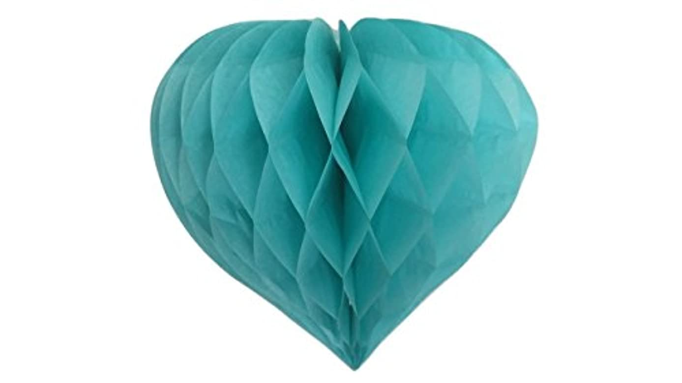 Matissa Pack of 3 Valentines Decoration Heart Shaped Paper Honeycomb Birthday Party Wedding Available in 11 Colours 3 Sizes (All Mint Green, 10