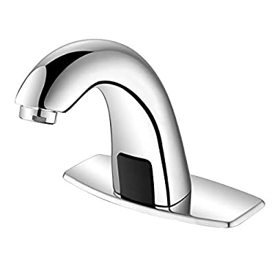 """Automatic Sensor Bathroom Sink Faucet with Hole Cover Plate, Touchless, Brass, Hands Free Bath Water Tap with Temperature Mixer, 3/8"""" 1/2"""" Adapter, 3 Hoses, Large Elbow Shape Chrome Nickel Finished"""