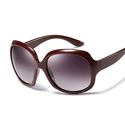 DNAMAZ Gafas de Sol de Lujo Mujeres de Gran tamaño Gafas de Sol Femenino Vintage Oval Big Frame Outdoor Sunglass UV400 (Lenses Color : Dark Red)