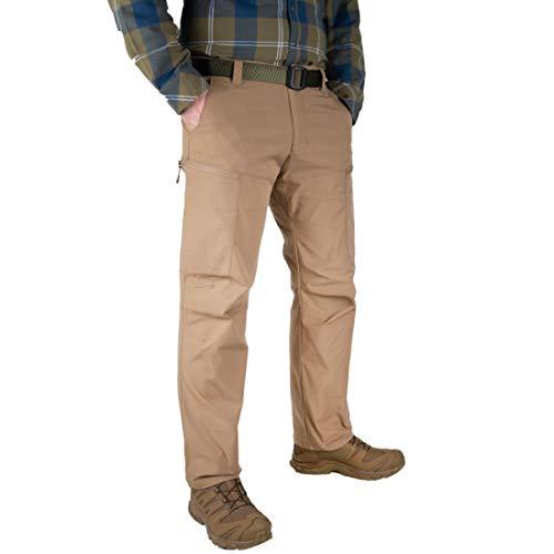 LA Police Gear Pantalones elásticos tácticos BFE de poli/algodón resistente al agua para hombre - Ajuste atlético, Coyote, 34W x 32L