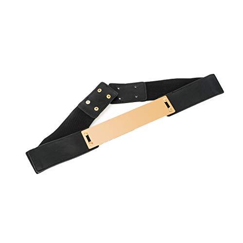 Damen Elastisch Schwarzer Gürtel mit Gold Obi Band Metallplatte Schnalle - Voll Einstellbarer und Dehnbar - Button Pin Verschluss - Passend für Formelle Bekleidung oder Freizeit Bekleidung