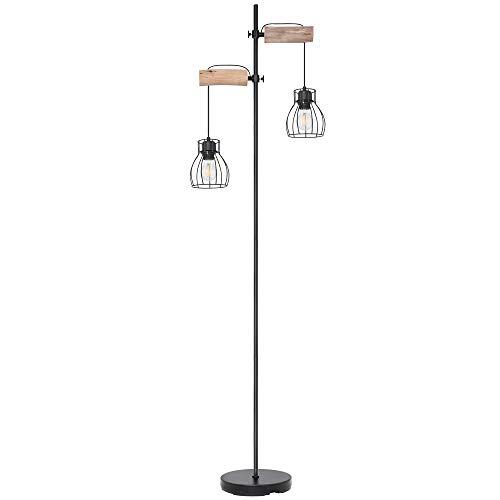 LED Vintage Steh Lampe Käfig Design Wohn Zimmer Holz Stand Leuchte höhenverstellbar