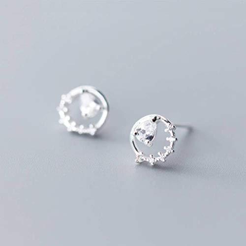 TYERY Pendientes de plata S925, pendientes de plata redondos simples del diamante del estilo de la moda coreana femenina