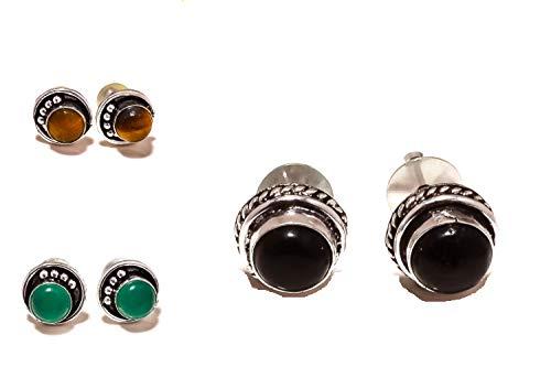 Venta entera lote de tres pares de pendientes/pendientes hechos a mano, ónix verde y negro, ojo de tigre marrón. Joyas de arte chapadas en plata esterlina. Tienda de variedad completa