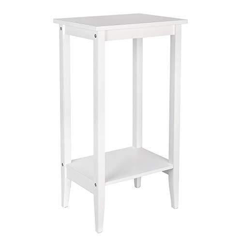 Homfa Beistelltisch Couchtisch Sofatisch mit 2 Ablagen Wohnzimmertisch Nachttisch Tisch Holz Weiß 40x30x73,5cm