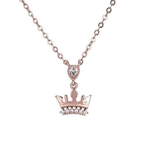 WDBUN Collar Colgante Joyas Collar Temperamento Corona Diamante clavícula Cadena Moda Femenina joyería de Plata Regalo de la Fiesta de cumpleaños de Navidad de Acción de Gracias del Día del Padre