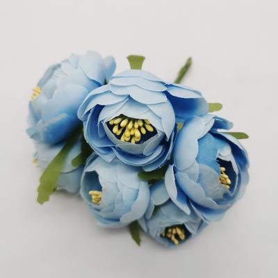 JSJJARD Künstliche Blumen 6PCS / Lot Mini Silk Gänseblümchen-künstliche Rosen-Blumen Blumenstrauß DIY Hochzeit Dekoration Papierblume for Scrapbooking Blume (Color : Light Blue)