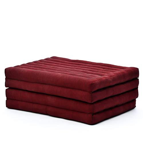 Leewadee materassino Pieghevole, Standard: Tappeto Medio Pieghevole in kapok Biologico Fatto a Mano, Materasso per Il Pavimento, 200 x 80 cm, Rosso