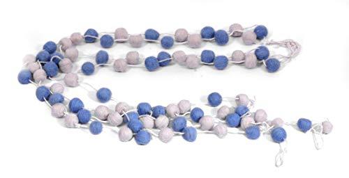 De culture vilt micro pompon slingers set van 4 (blauw & off-white)