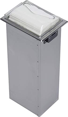 "San Jamar H2005 Stainless Steel in-Counter Fullfold Control Napkin Dispenser, 750 Plus Capacity, 7"" Width x 19-5/8"" Height x 5-1/2"" Depth, Clear/Satin Stainless"