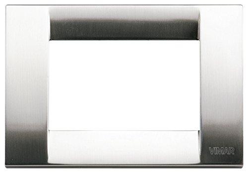 Vimar Serie Idea–Placca Classica 3Moduli Nichel Metallo spazzolato