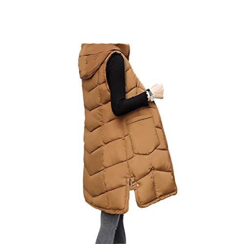 LVYING Coat Down Vest Women Quilted Gilet Hooded Coats Long Waistcoat Jackets Winter Warm
