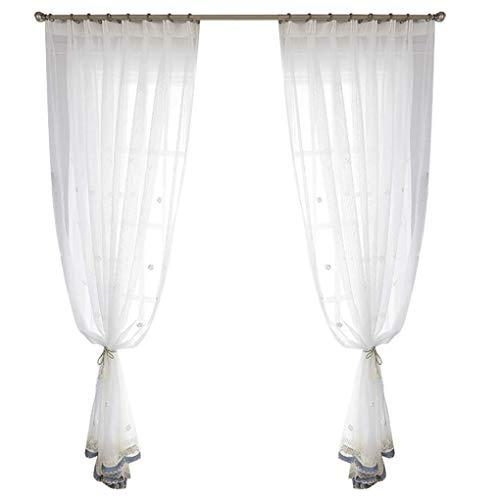 Inkijkbescherming voor ramen, moderne stijl, eenvoudig, wit, kijkvenster transparant, scheidingswanden voor balkon, gordijnen (grootte: breedte 200 cm, hoogte 270 cm (ideau)) Width 200*height 270cm 3