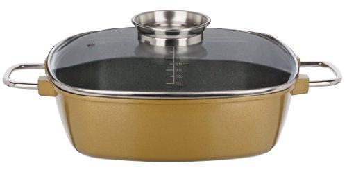GSW 507011 Gourmet Premium Color Bräter, extra hoch 28 x 28 x 8.5 cm / 4.9 Liter, Gold