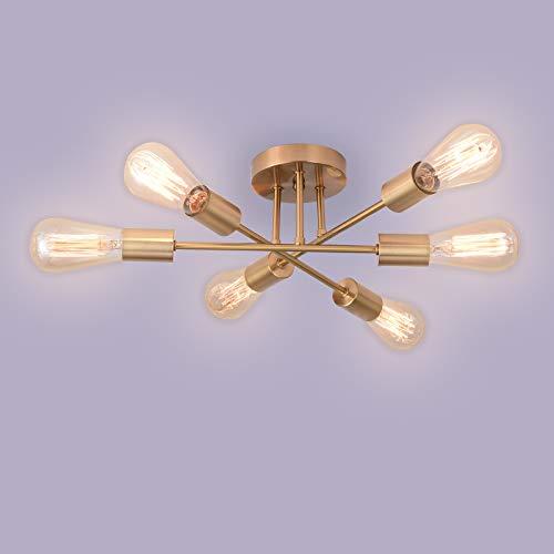 Asvert Lámpara de Techo Araña con 6 Brazos Iluinación de Techo Lámpara colgante Vintage para sala de estar Dormitorio Comedor (Sin bombilla)(Oro)