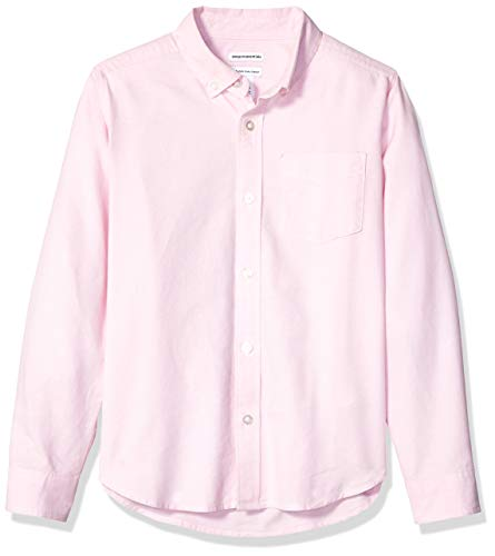 Amazon Essentials - Camisa de manga larga hecha de tela Oxford para niño, Rosa (Oxford Pink), US M (EU 128 CM, H)