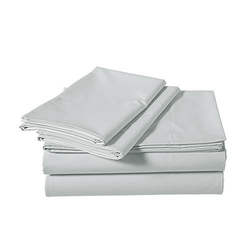 AmazonBasics Lightweight Percale Cotton Sheet Set - King, Cloud Grey