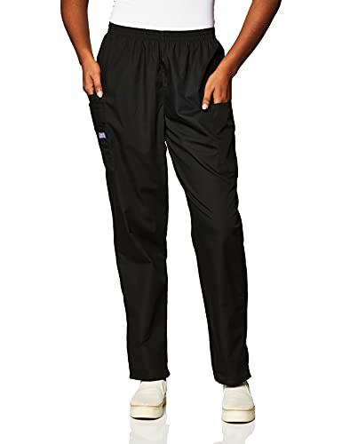 CHEROKEE Women's Workwear Elastic Waist Cargo Scrubs Pant, Black, Small