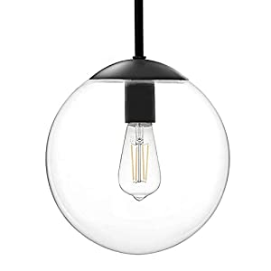 """MOTINI Modern Globe Pendant Light in Black Finish with 10"""" Clear Glass Shade, Adjustable Height Ceiling Hanging Pendant Lighting Fixture for Kitchen Island, Dining Room"""