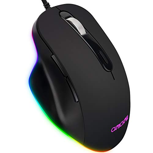 Gaming Mouse Wired, 6 Programmable Buttons, RGB Backlit, 7200 DPI Adjustable, high-Speed Movement PC Computer Gaming Mice, Black
