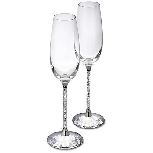 WENYOG Rotweingläser 230ML Champagne Flöten Weinglas Kristallin Luxus Hochzeit Toasten Gläser Goblet Kristall 08 (Color : 2 pcs with Gift Box, Size : 250ml)