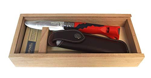 Opinel Kindermesser Outdoor Junior mit Wunschgravur auf der Klinge (Rot, in Geschenkbox)