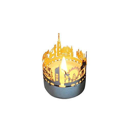 13gramm Wien-Skyline Windlicht Schattenspiel Souvenir, 3D Edelstahl Aufsatz für Kerze inkl. Karte