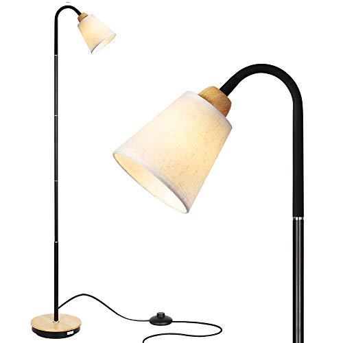 HAITRAL Stehlampe Moderne Stehleuchte mit Flexibler Schwanenhals für Wohnzimmer, Schlafzimmer, Büro - Weiß (ohne Birne)