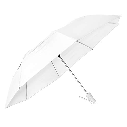 "StrombergBrand""Travelers"" Auto-Open, Folding Compact Umbrella With Vented Canopy, White, One Size"