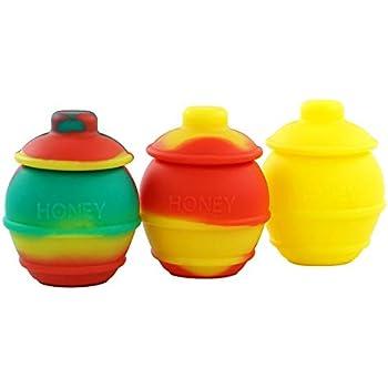 Silicone Container YHSWE 3Pcs 35ml Honey Pots Silicone Container Non stick Storage Oil Jar Multi Color Randomly