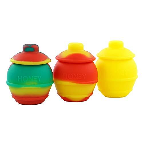YHSWE 3Pcs 35ml Honey Pots Silicone Container Non stick Storage Oil Jar Multi Color Randomly