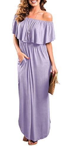 Womens Off The Shoulder Ruffle Party Dresses Side Split Beach Maxi Dress Lavender M