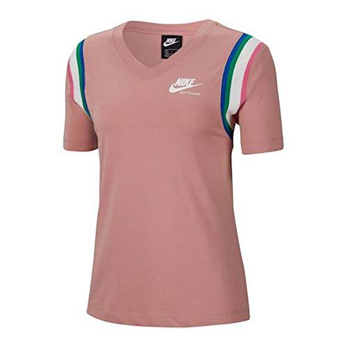 NIKE Camiseta para Mujer NSW Hrtg Rosa y Blanco. XS