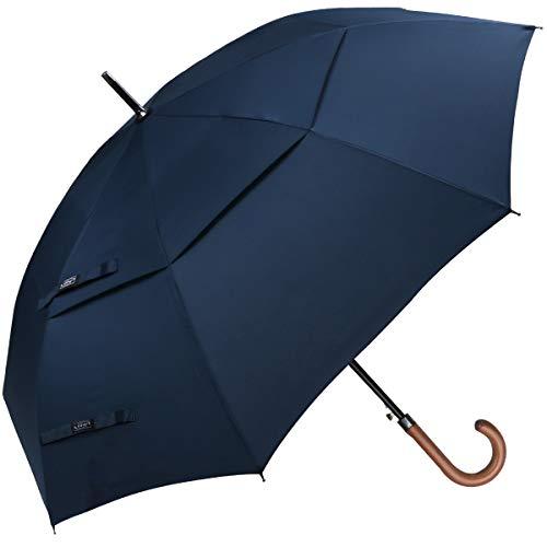 G4Free Wooden J Handle Classic Golf Umbrella Windproof Auto Open 52 inch Large Oversized Double Canopy Vented Rainproof Cane Stick Umbrellas for Men Women (Blue)