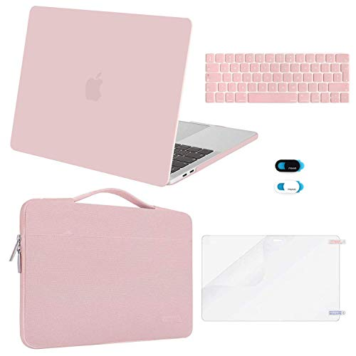 MOSISO Compatible with MacBook Pro 13 inch Case 2016-2020 Release A2338 M1 A2289 A2251 A2159 A1989 A1706 A1708, Plastic Hard Shell Case&Bag&Keyboard Skin&Webcam Cover&Screen Protector, Rose Quartz