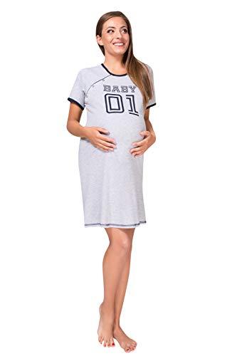Sibinulo Camisón de Maternidad Pijama Lactancia Vestido Baby 01 Manga Corta Cierre a Presión Gris S