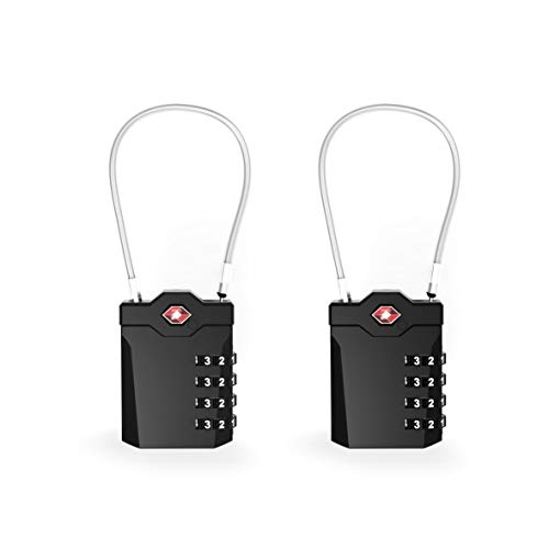 TSA Approved Luggage Locks with Steel Cable 4 Digit Combination Lock with Inspection Indicator Keyless Padlock for Suitcase Backpack Baggage (2 Pack)