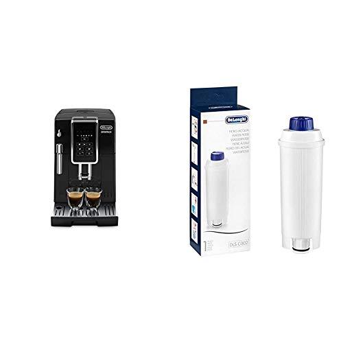 De'Longhi Dinamica ECAM 350.15.B Kaffeevollautomat mit Milchaufschäumdüse für Cappuccino, schwarz & Original Wasserfilter DLSC002 - Zubehör für De'Longhi Kaffeevollautomaten, weiß