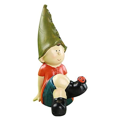 Qagazine Resina Artesanías Mini Estatua Enana Decoración Resina Artesanía Para Decoración De Jardín Incluyendo Interior Y Exterior Pareja Elfos Adornos