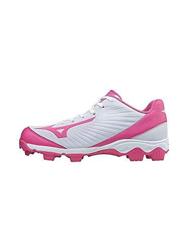 Mizuno 9-Spike Advanced Finch Franchise 7 Womens Fastpitch Softball Cleat Shoe, White/Pink, 7.5 B US