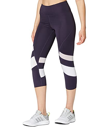 Amazon Brand - AURIQUE Leggings deportivos capri con paneles para mujer, Morado (Nightshade/White), 36, Label:XS