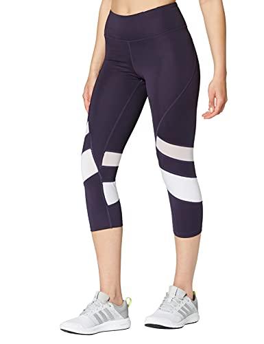 Amazon Brand - AURIQUE Leggings deportivos capri con paneles para mujer, Morado (Nightshade/White), 36, Label:XS